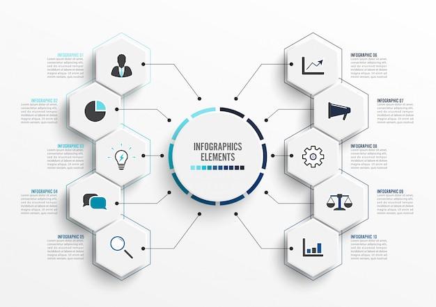 Modelo de infográfico de vetor com etiqueta de papel 3d, círculos integrados. conceito de negócio com 10 opções. para conteúdo, diagrama, fluxograma, etapas, partes, infográficos da linha do tempo, fluxo de trabalho, gráfico. Vetor Premium
