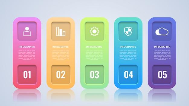 Modelo de infográfico empresarial moderno colorido Vetor Premium