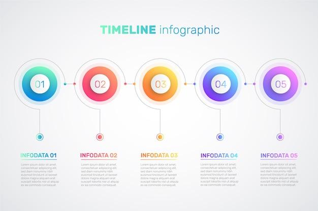 Modelo de infográfico gradiente de linha do tempo Vetor Premium