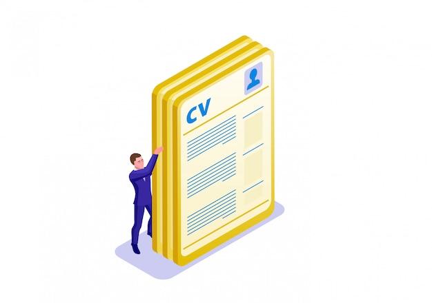 Modelo de infográfico isométrica de cv Vetor Premium