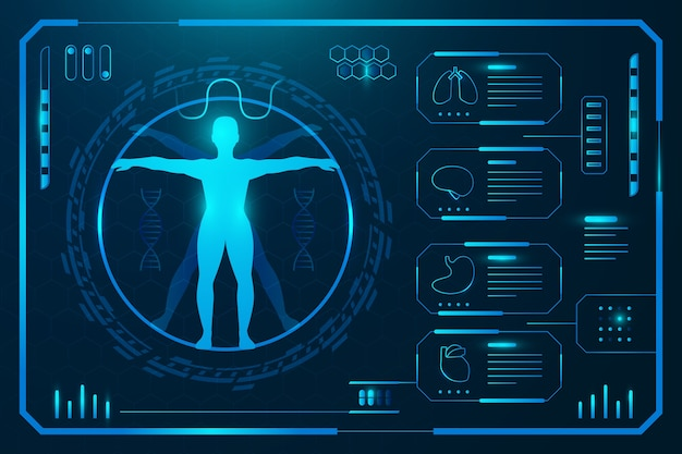 Modelo de infográfico médico de tecnologia Vetor grátis
