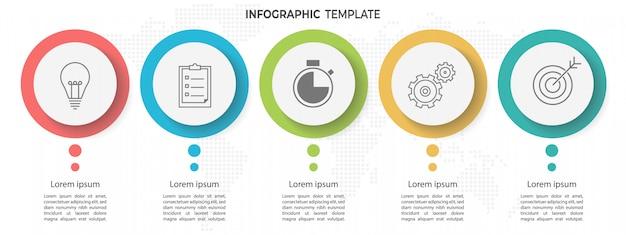 Modelo de infográfico mínimo círculo timeline 5 opções ou etapas. Vetor Premium