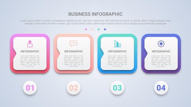 Modelo de infográfico moderna 3d para negócios com quatro etapas Vetor Premium