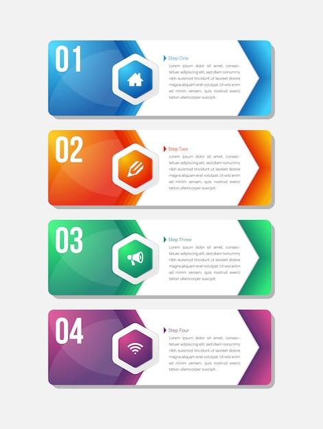 Modelo de infográfico para quatro opções, etapas ou processo. Vetor Premium