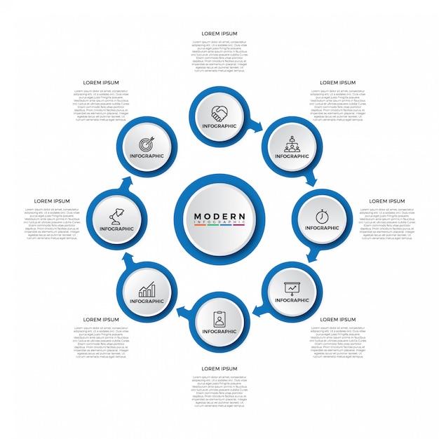 Modelo de infográfico simples passo moderno Vetor Premium