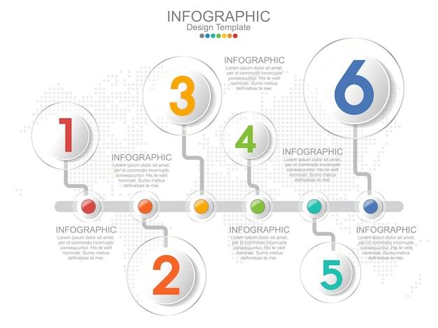 Modelo de infográfico timeliane com layout de quadro e texto. Vetor Premium