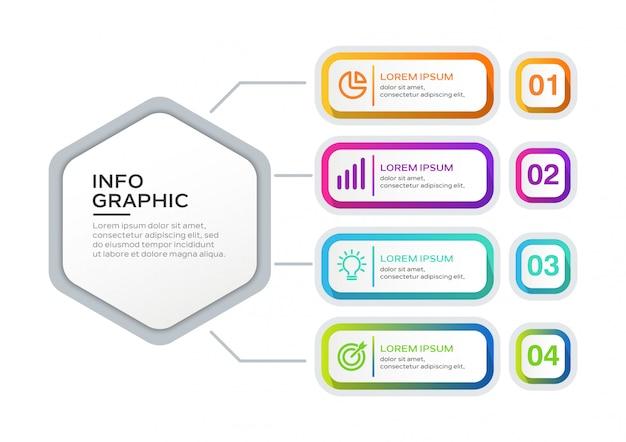 Modelo de infográfico Vetor Premium