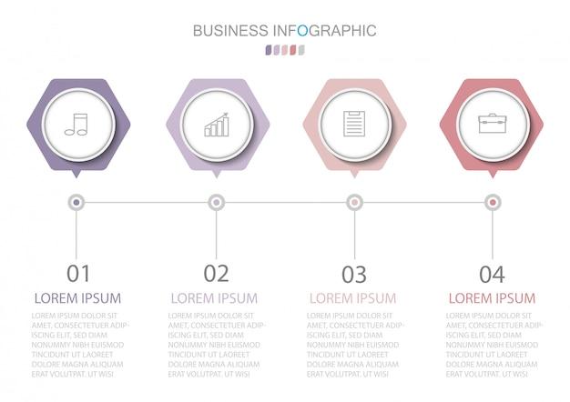 Modelo de infográficos com quatro etapas ou opções Vetor Premium