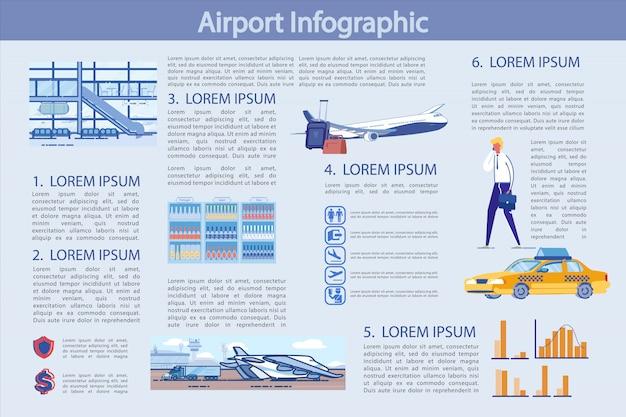 Modelo de infográficos de aeroporto Vetor Premium