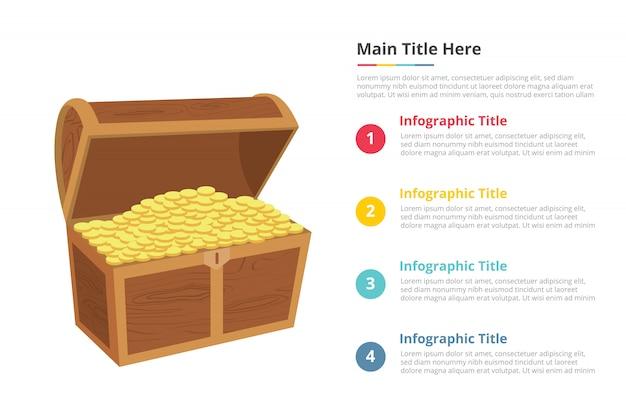 Modelo de infográficos de caixa de ouro dinheiro com quatro pontos Vetor Premium