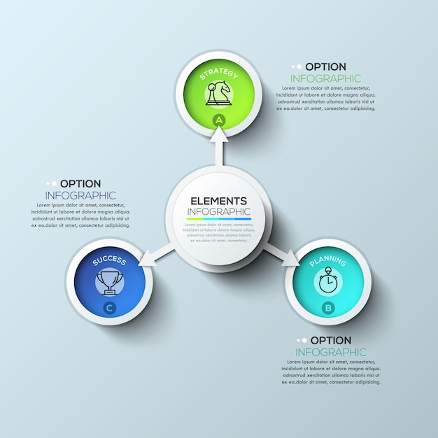Modelo de infográficos de círculo de seta com três opções Vetor Premium