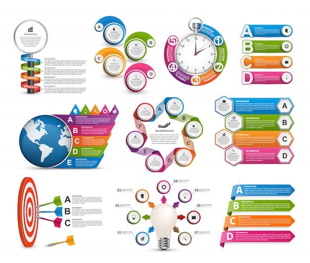 Modelo de infográficos de coleção. elementos de design. Vetor Premium