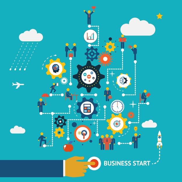 Modelo de infográficos de início de negócios. esquema com humanos, ícones e engrenagens Vetor grátis