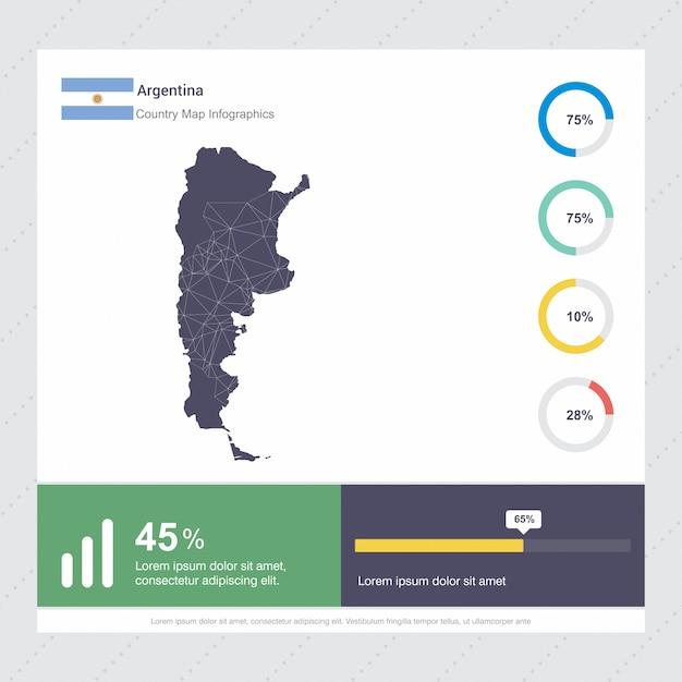 Modelo De Infográficos De Mapa E Bandeira Da Argentina