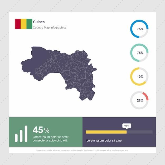 Modelo de infográficos de mapa e bandeira da guiné Vetor grátis