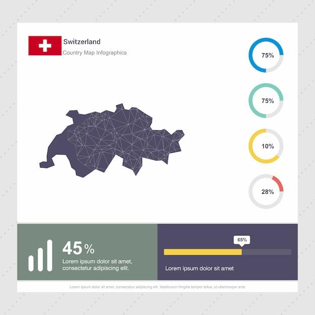 Modelo de infográficos de mapa e bandeira da suíça Vetor grátis