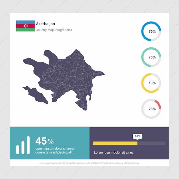 Modelo de infográficos de mapa e bandeira do azerbaijão Vetor grátis