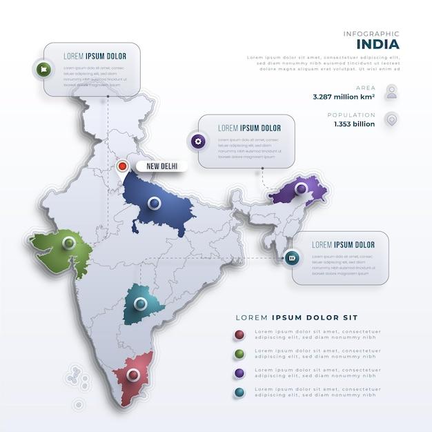 Modelo de infográficos de mapa gradiente da índia Vetor grátis