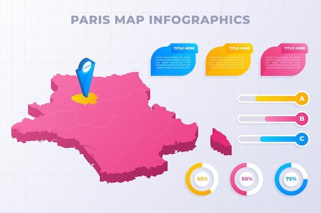 Modelo de infográficos de mapa isométrico de paris Vetor grátis