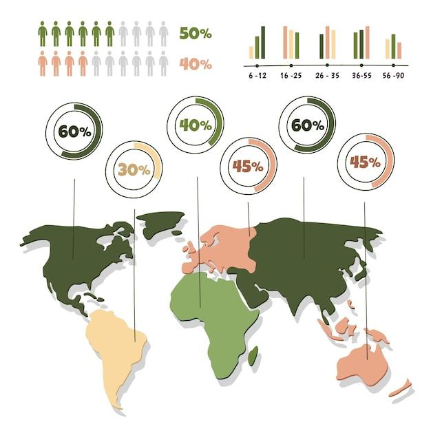 Modelo de infográficos de mapas desenhados à mão Vetor Premium