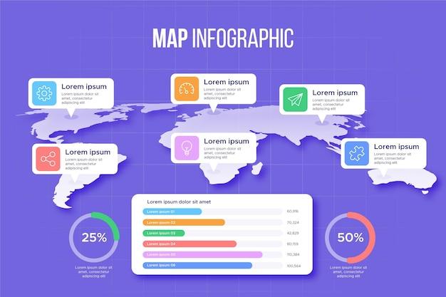 Modelo de infográficos de mapas Vetor Premium