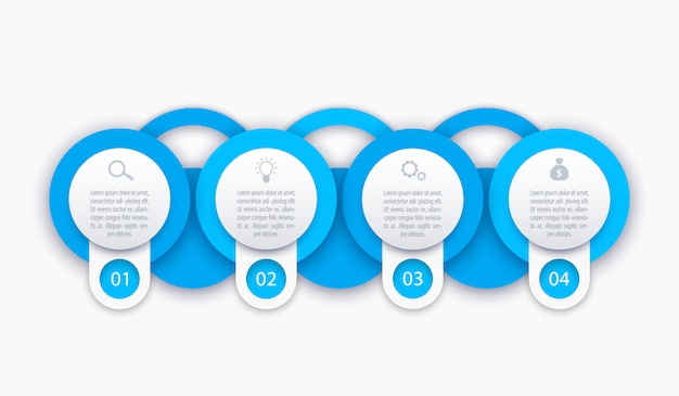 Modelo de infográficos de negócios, 1, 2, 3, 4 etapas Vetor Premium
