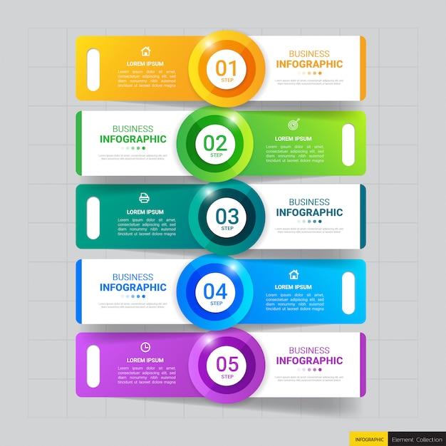 Modelo de infográficos de negócios com cinco etapas Vetor Premium