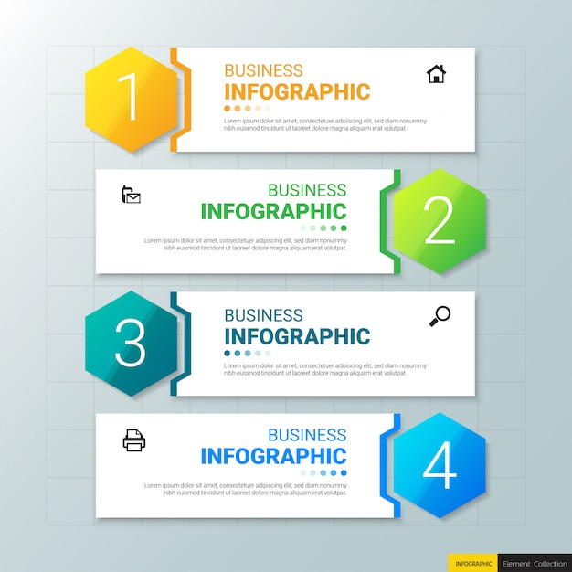 Modelo de infográficos de negócios com quatro etapas Vetor Premium