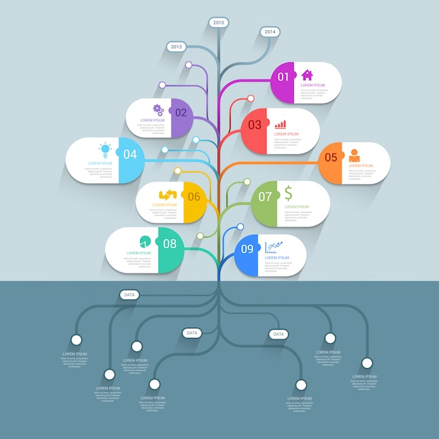 Modelo de infográficos de negócios de mapa mental de histórico de processos de árvore da linha do tempo Vetor grátis