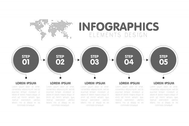 Modelo de infográficos de negócios. linha do tempo com 5 etapas de seta circular, cinco opções numéricas. mapa mundial em segundo plano. Vetor Premium