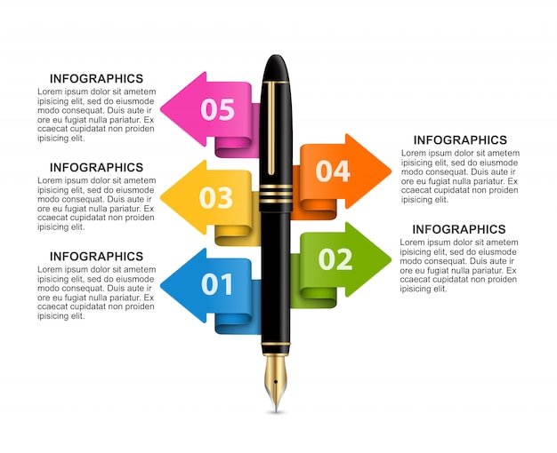 Modelo de infográficos de negócios. Vetor Premium