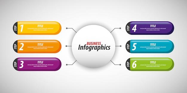 Modelo de infográficos de negócios Vetor Premium
