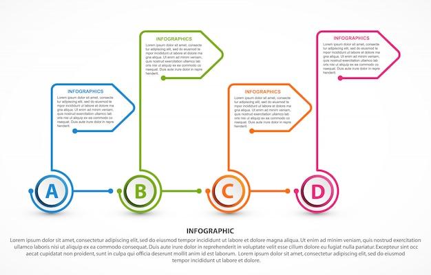Modelo de infográficos de opções abstratas. Vetor Premium