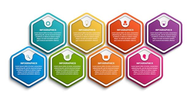 Modelo de infográficos de opções de hexágono Vetor Premium