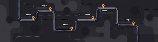 Modelo de infográficos de roteiro e rota de viagem Vetor Premium