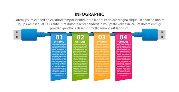 Modelo de infográficos de tecnologia Vetor Premium
