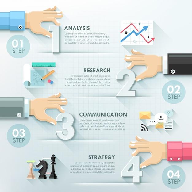 Modelo de infográficos de trabalho em equipe mãos de negócios Vetor Premium