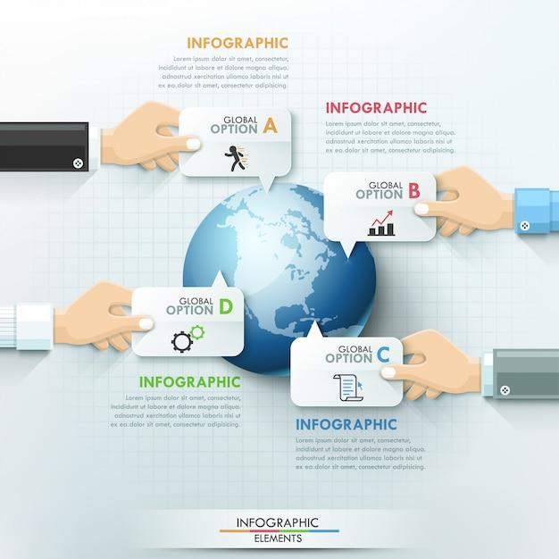 Modelo de infográficos global de mãos de negócios Vetor Premium