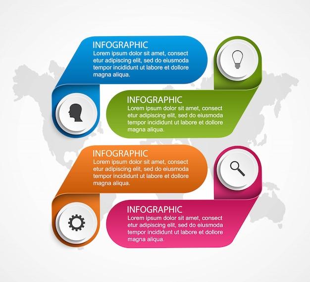 Modelo de infográficos opções abstratas. Vetor Premium