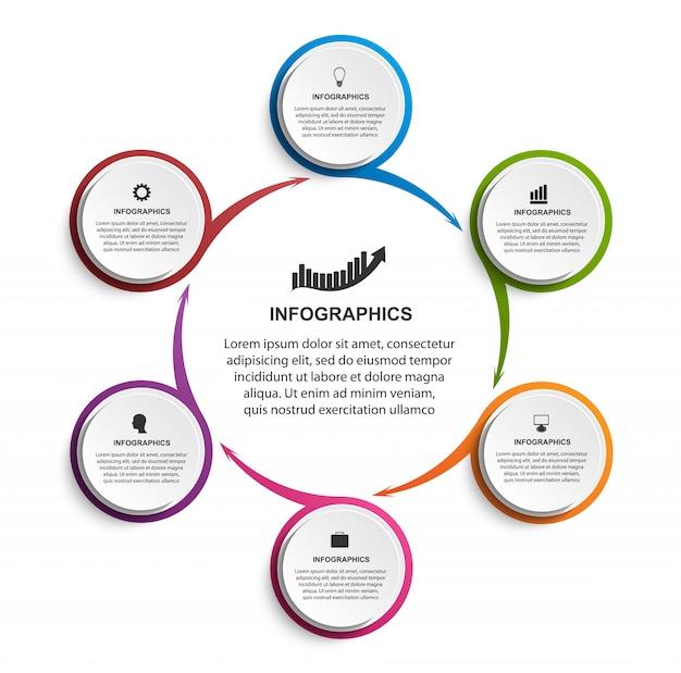 Modelo de infográficos para apresentações. Vetor Premium