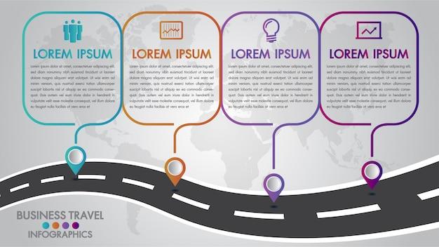 Modelo de infográficos timeline 4 opções de design com uma maneira de estrada e ponteiros de navegação Vetor Premium