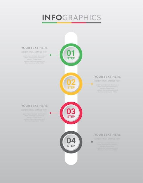 Modelo de informação-gráfico para negócios com design de passos. Vetor Premium