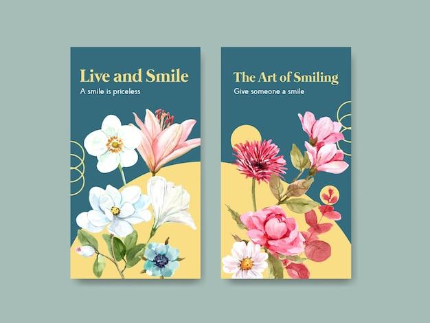 Modelo de instagram com design de buquê de flores para o conceito do dia mundial do sorriso para mídias sociais e ilustração vetorial aquarela da comunidade. Vetor grátis