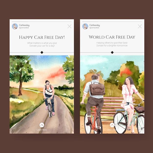 Modelo de instagram com design de conceito de dia mundial sem carro para mídias sociais e aquarela de internet. Vetor grátis