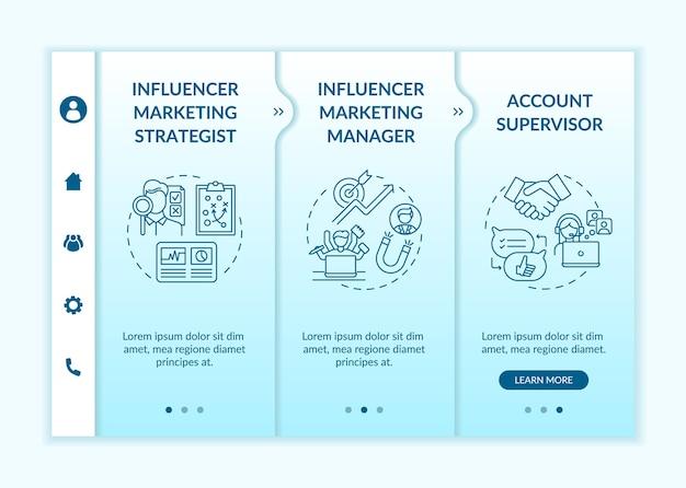 Modelo de integração de ocupação de marketing influenciador Vetor Premium