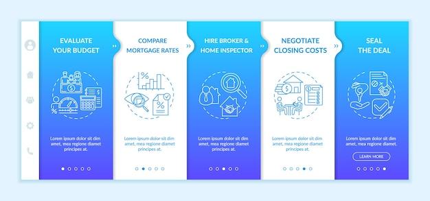 Modelo de integração de pontos de compra de casa pela primeira vez Vetor Premium