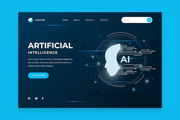 Modelo de inteligência artificial da página de destino Vetor grátis