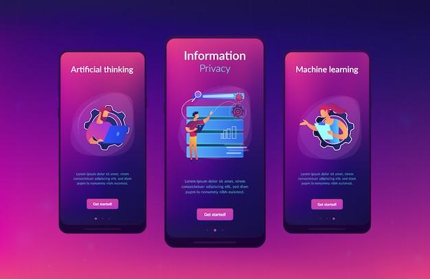 Modelo de interface de aplicativo de aplicativos de big data. Vetor Premium