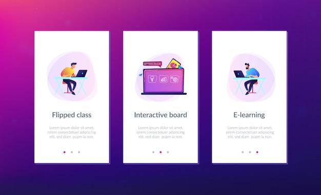 Modelo de interface de aplicativo de aprendizado digital. Vetor Premium
