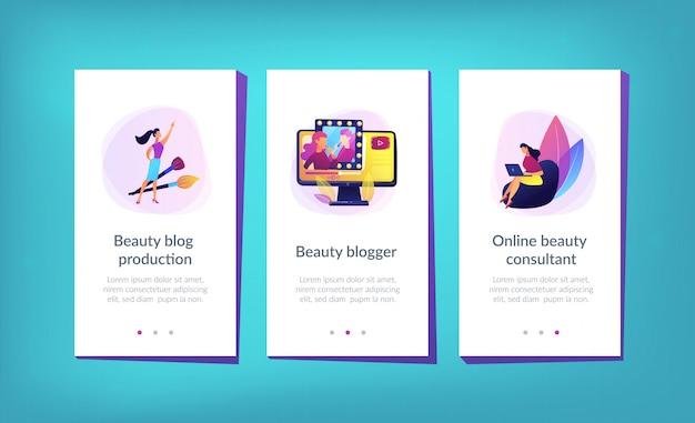 Modelo de interface de aplicativo de blogueiro de beleza. Vetor Premium
